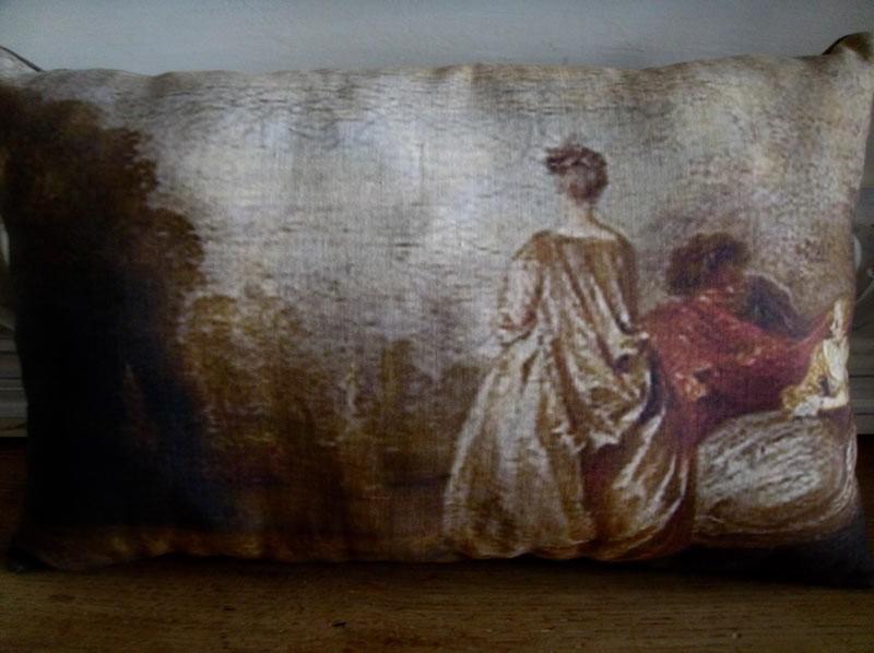 Coussin lin ancien tableau XVIIIe