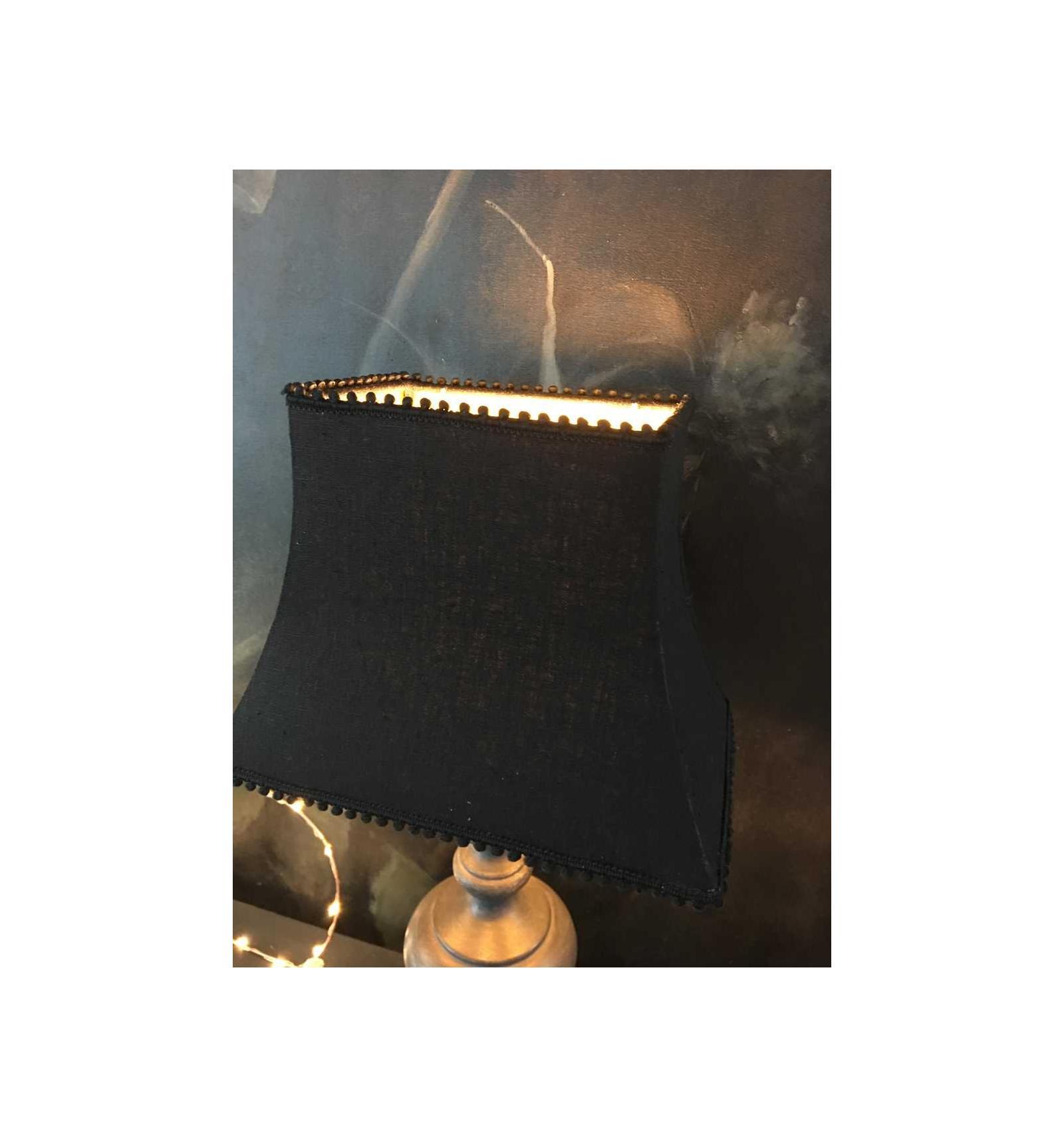 abat jour pagode rectangulaire lin noir fond or belette en compagnie. Black Bedroom Furniture Sets. Home Design Ideas