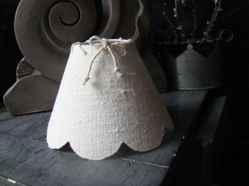 Abat jour festonné petit modèle lin ancien blanchi